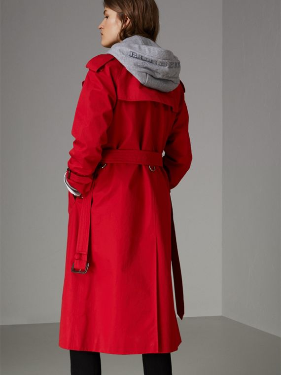 Raglan-sleeve Cotton Trench Coat in Parade Red - Women | Burberry Singapore - cell image 2