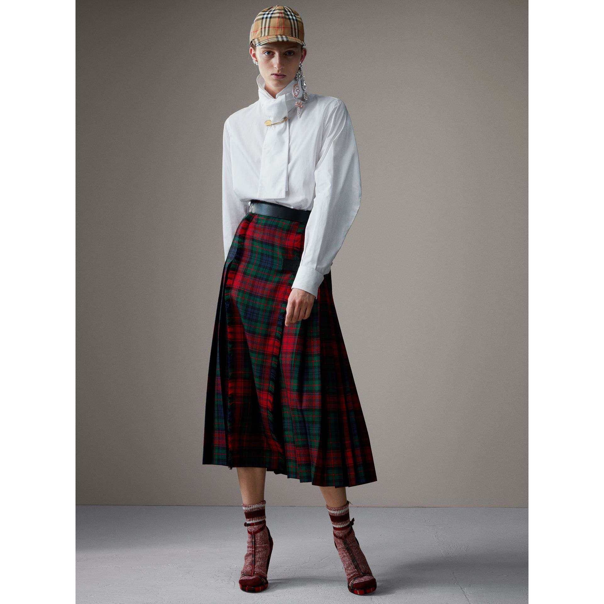 Tartan Wool High-waisted Kilt in Bright Red - Women | Burberry Singapore - gallery image 1