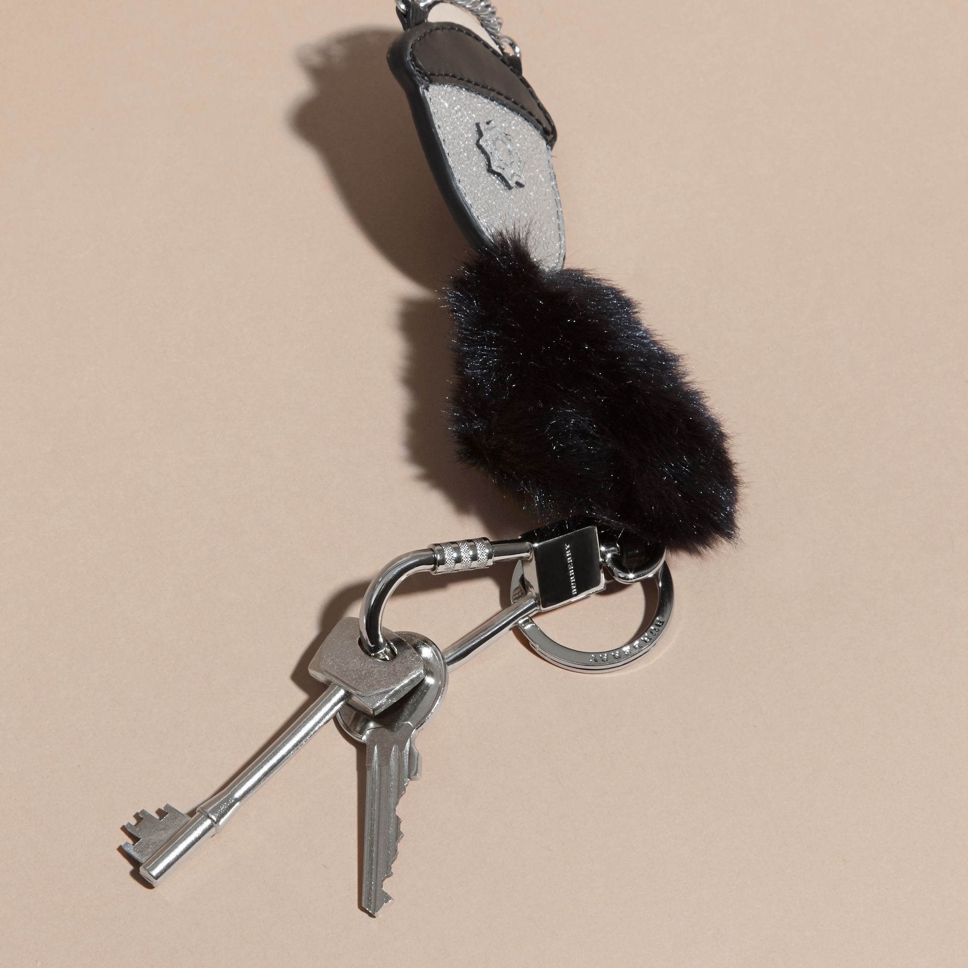 Silver Leather Guard Hat Key Ring - gallery image 3