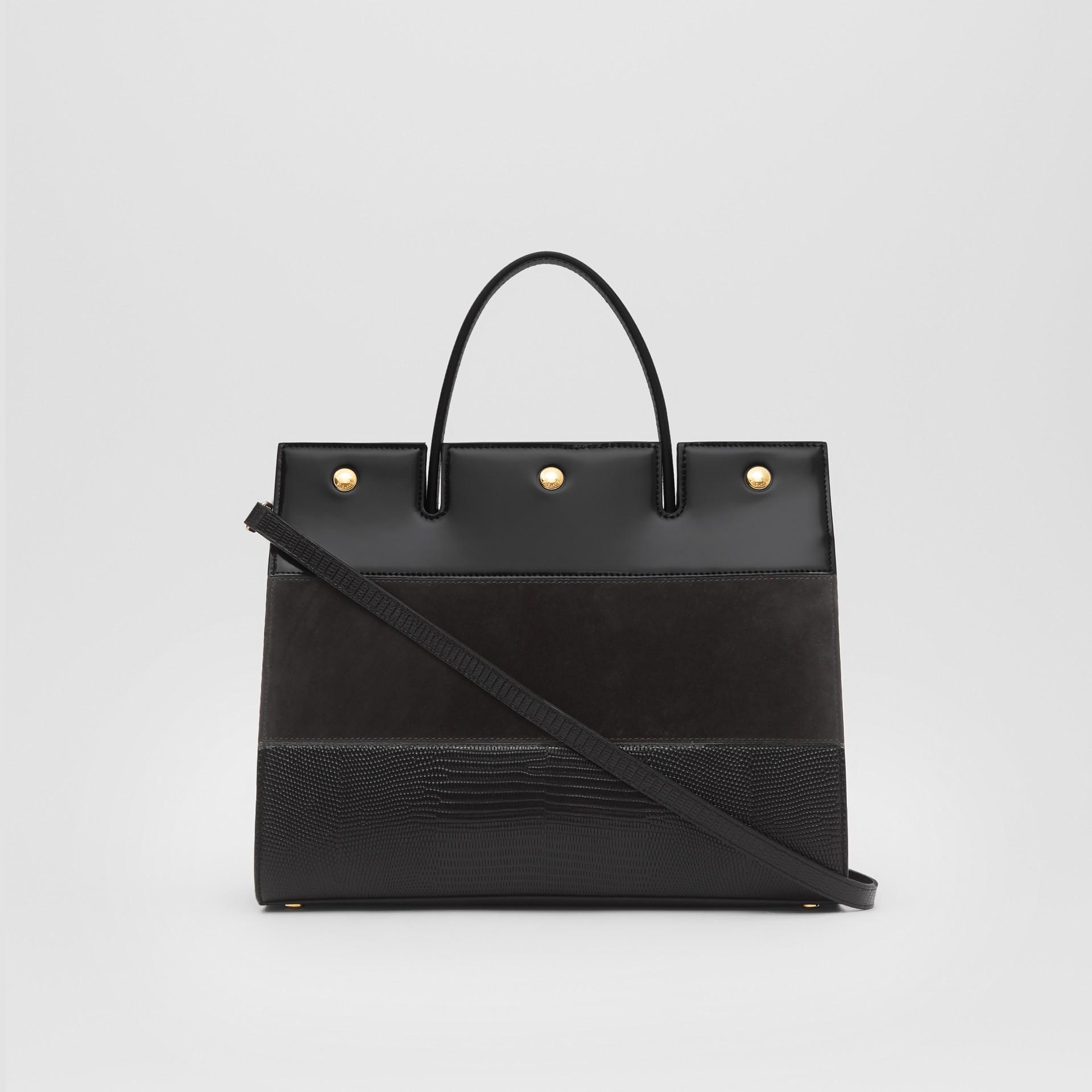 Sac Title moyen en cuir de cerf et cuir velours (Noir) - Femme | Burberry Canada - photo de la galerie 7