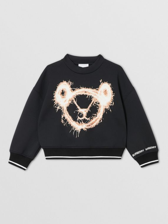 Sparkler Print Neoprene Sweatshirt in Black