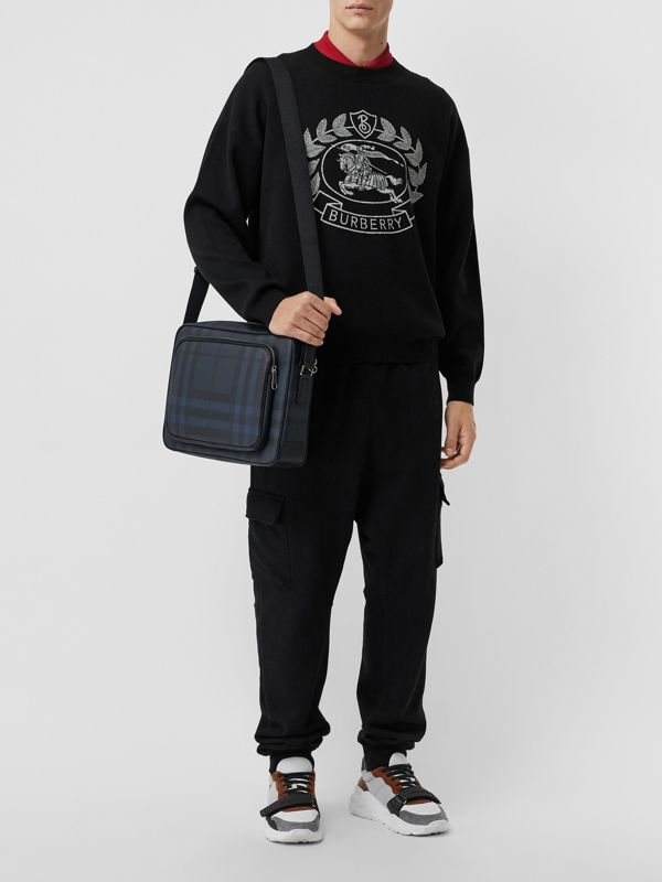 London Check Messenger Bag in Navy/black - Men | Burberry Hong Kong - cell image 2