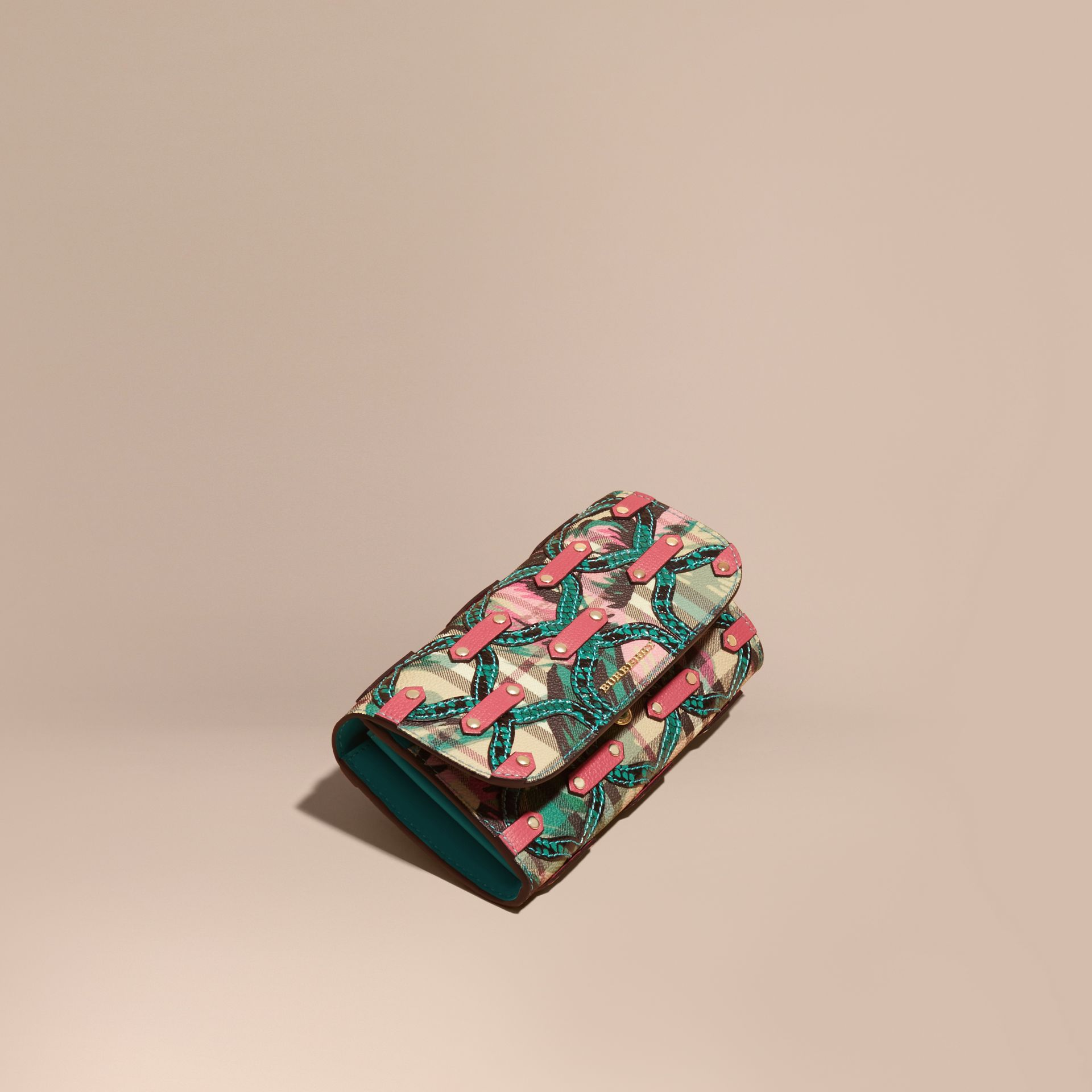 Snakeskin Appliqué Peony Rose Print Haymarket Check Continental Wallet in Plum Pink - gallery image 1