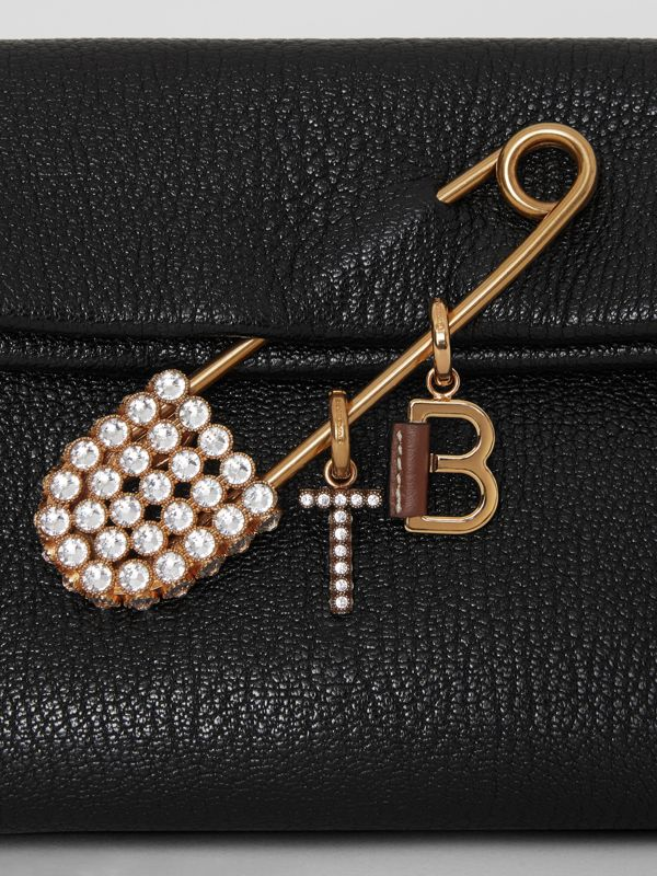 Leather-topstitched 'E' Alphabet Charm in Palladio/black - Women | Burberry United Kingdom - cell image 2