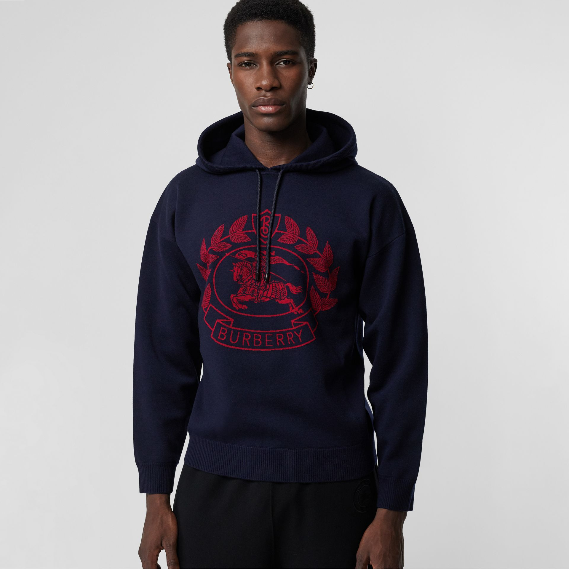 Crest Merino Wool Blend Jacquard Hoodie in Navy - Men | Burberry - gallery image 0