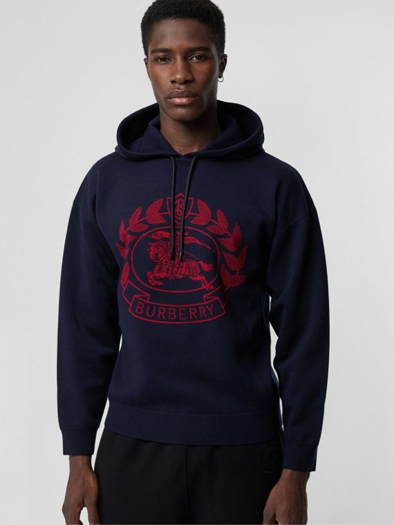 Crest Merino Wool Blend Jacquard Hoodie in Navy