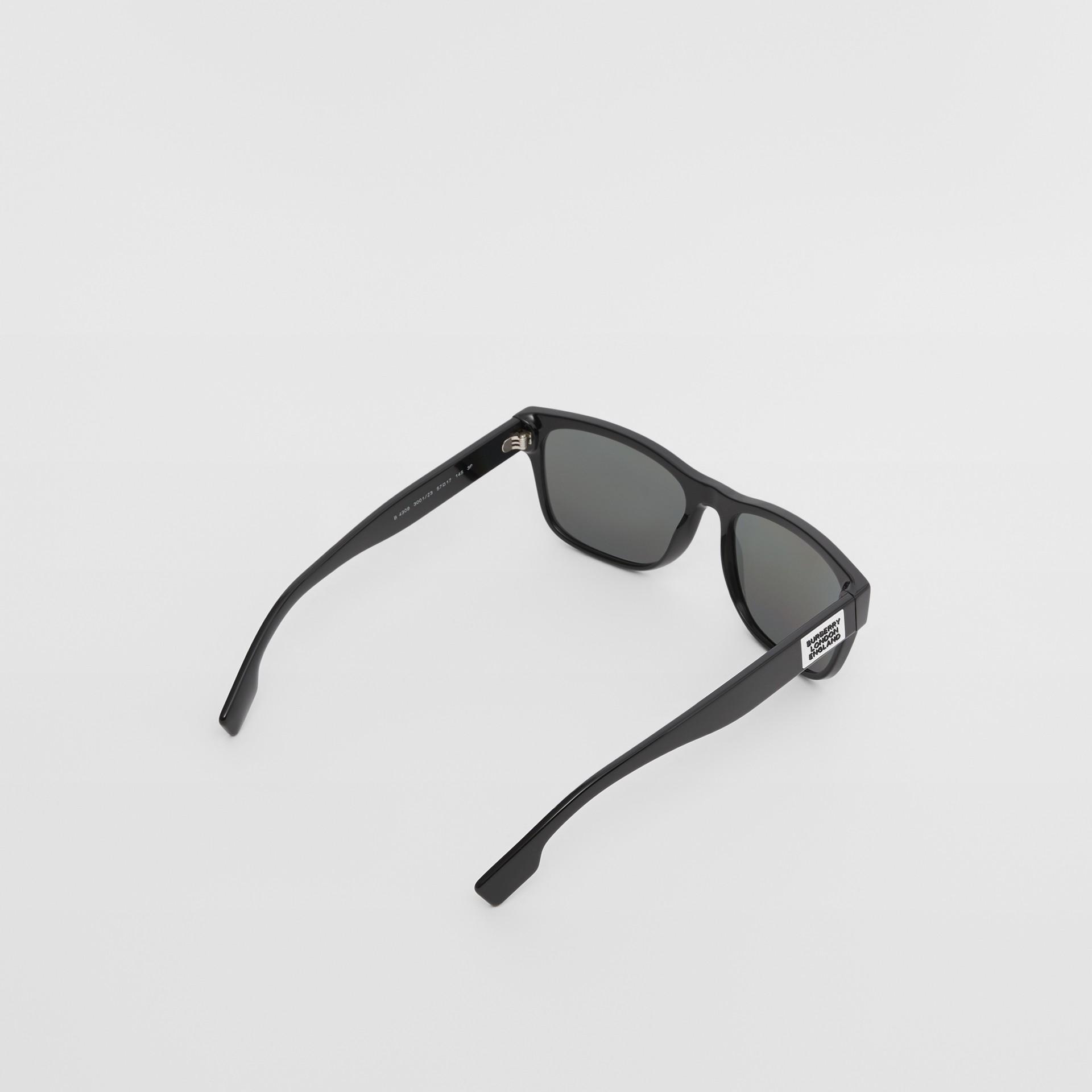 Logo Appliqué Square Frame Sunglasses in Black - Men | Burberry United Kingdom - gallery image 3