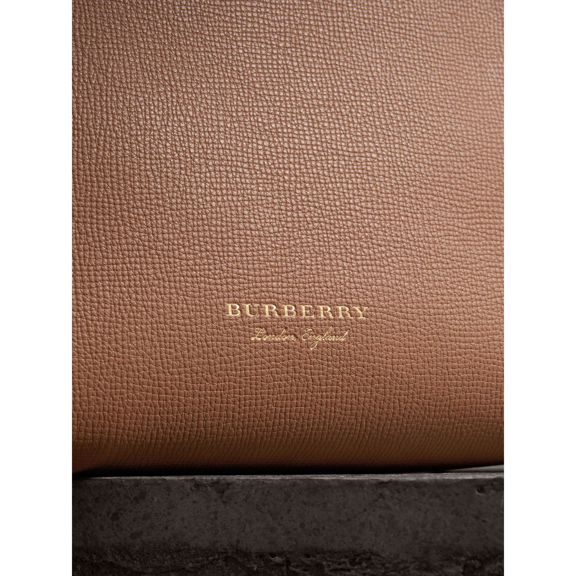 The Medium Banner in Leather and House Check in Dark Sand - Women | Burberry - gallery image 1