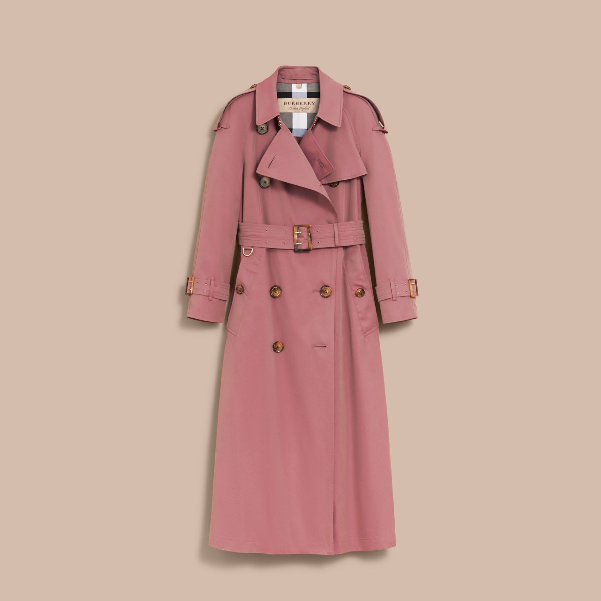 Tropical Gabardine Trench Coat in Antique Rose - Women | Burberry Canada - gallery image 4
