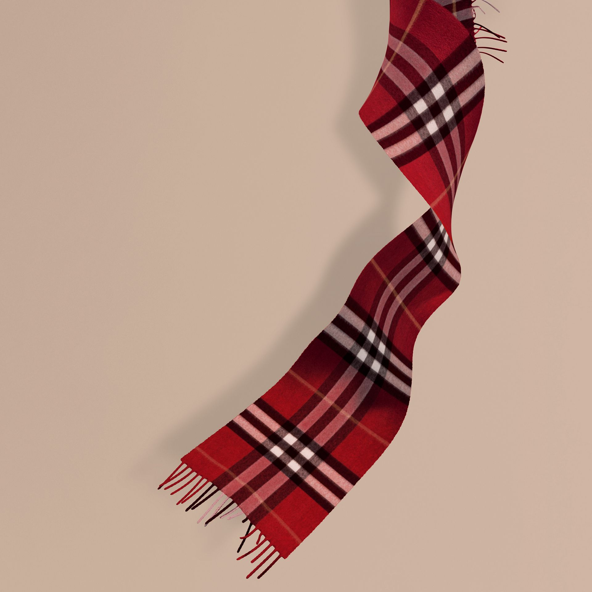 The Mini Classic Check Cashmere Scarf in Parade Red | Burberry - gallery image 1