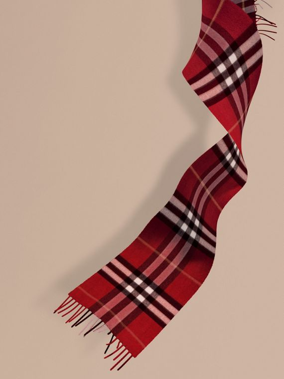 The Mini Classic Cashmere Scarf in Check in Parade Red | Burberry