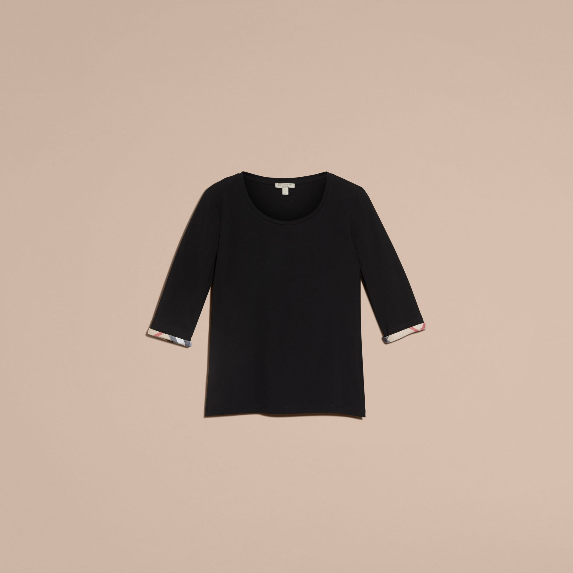 Check Cuff Stretch-Cotton Top in Black - Women | Burberry - gallery image 4