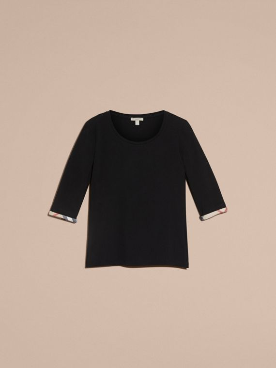 Check Cuff Stretch-Cotton Top in Black - cell image 3