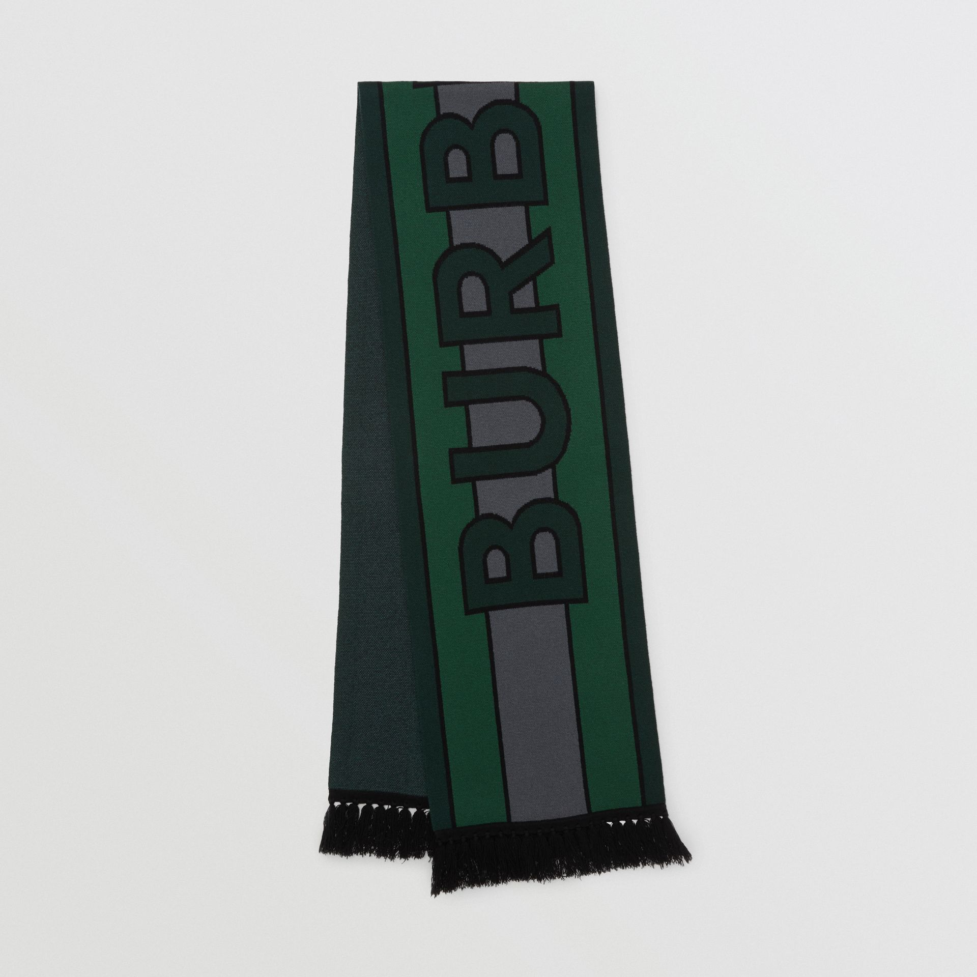 Logo Cashmere Jacquard Scarf in Forest Green | Burberry - gallery image 0