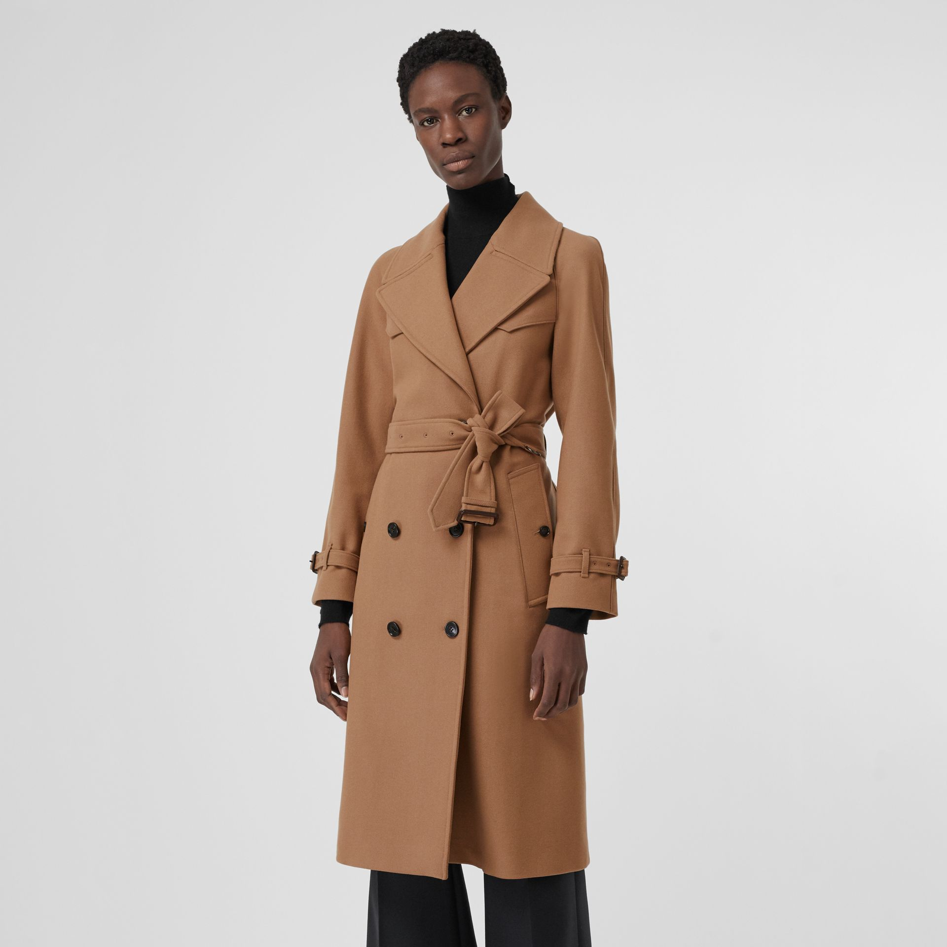Herringbone Wool Cashmere Blend Trench Coat in Camel - Women | Burberry - gallery image 6