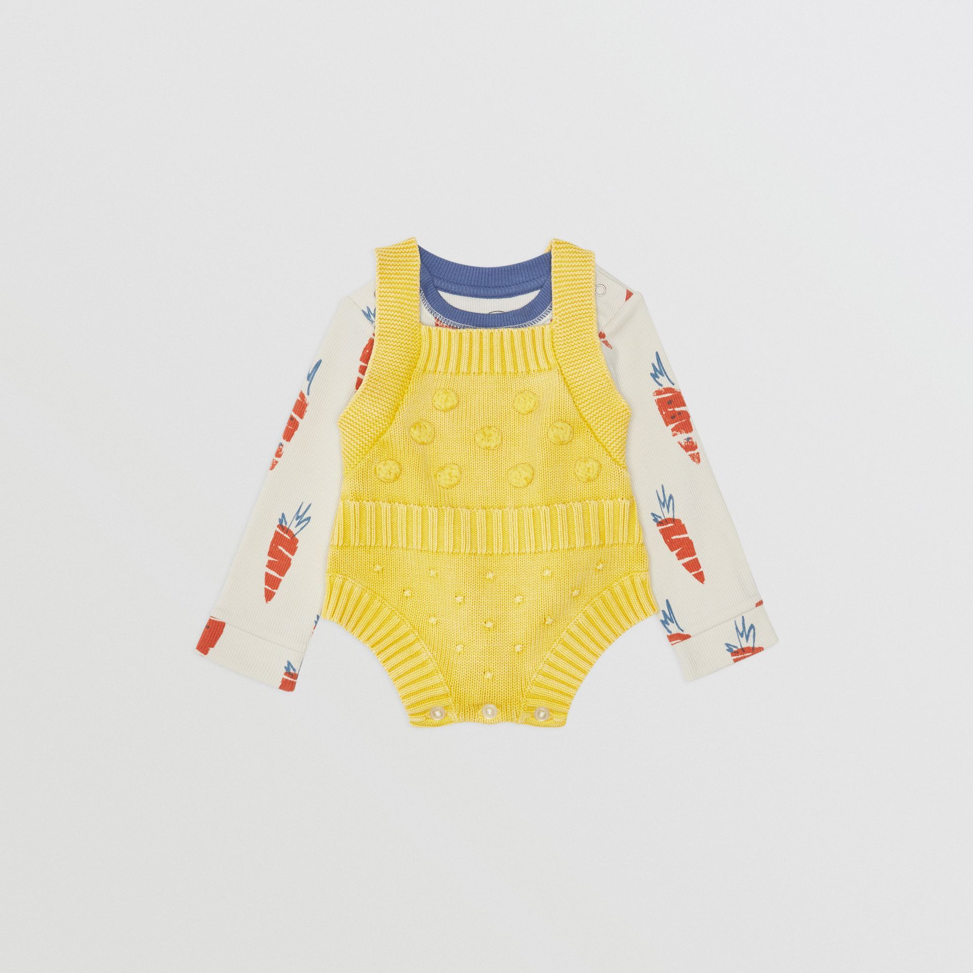 Contrast Knit Cotton Playsuit in Citrus Yellow - Children | Burberry United Kingdom - gallery image 2