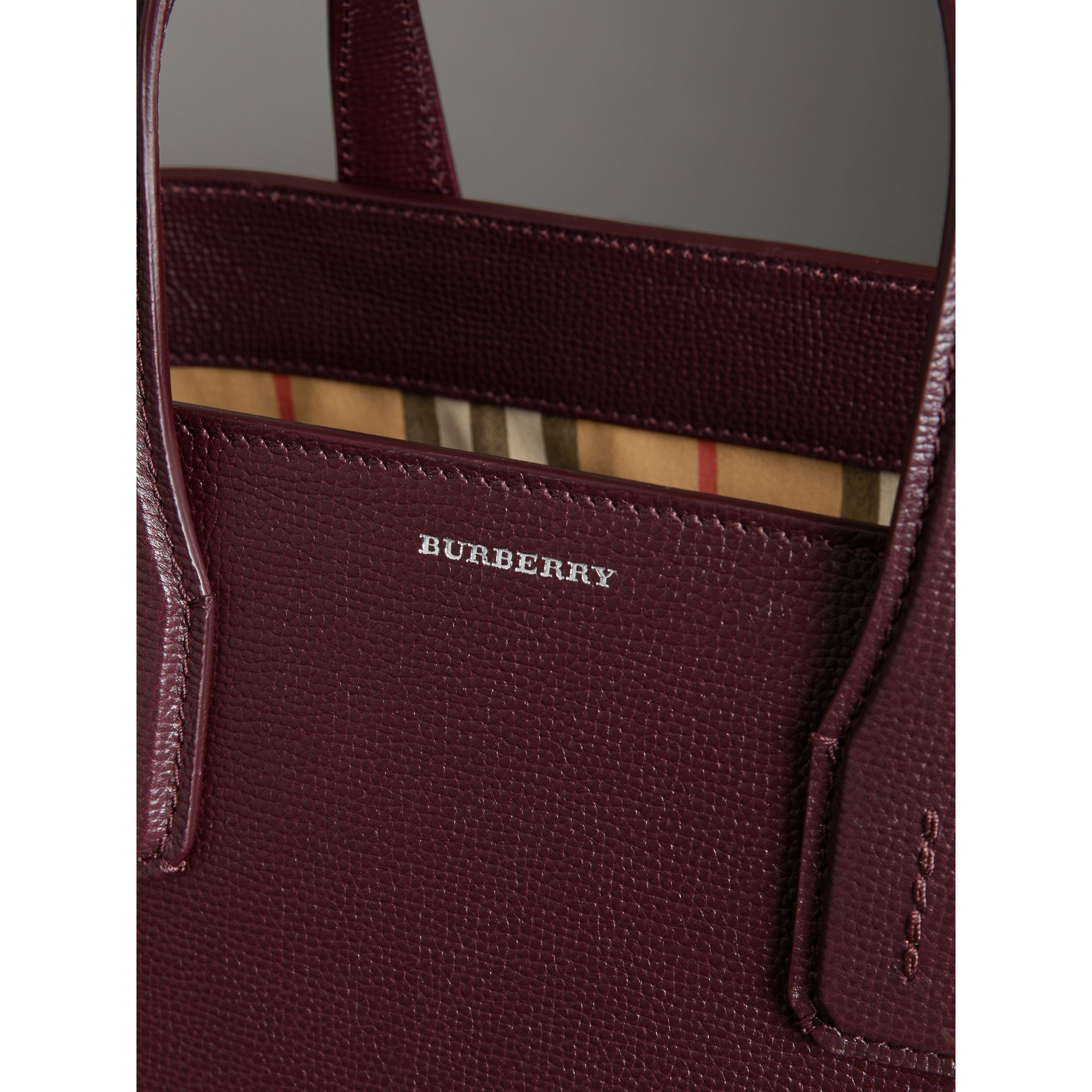 The Medium Banner in Leather and Vintage Check in Mahogany Red - Women | Burberry - gallery image 1