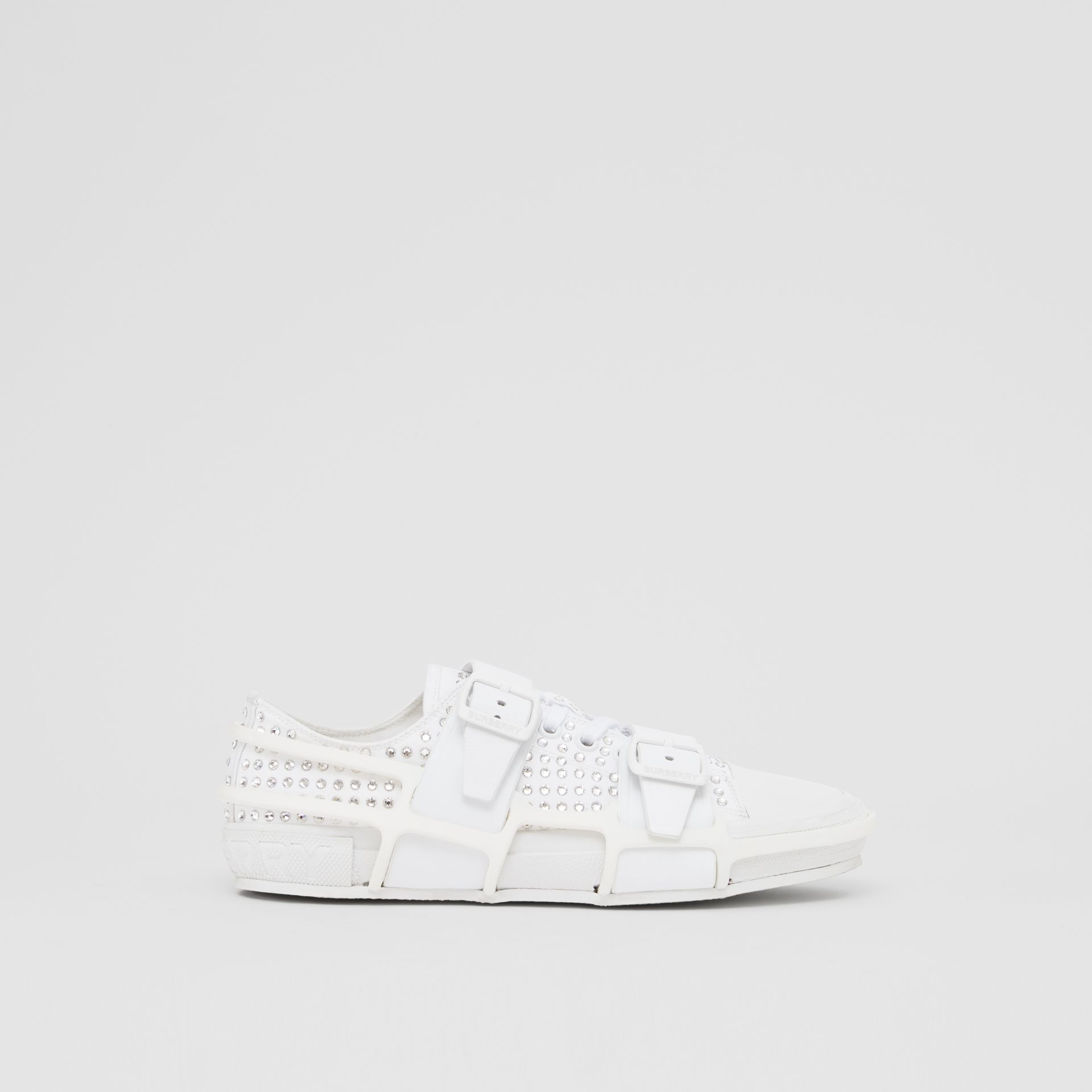 Embellished Cotton and Leather Webb Sneakers in White | Burberry United States - gallery image 4