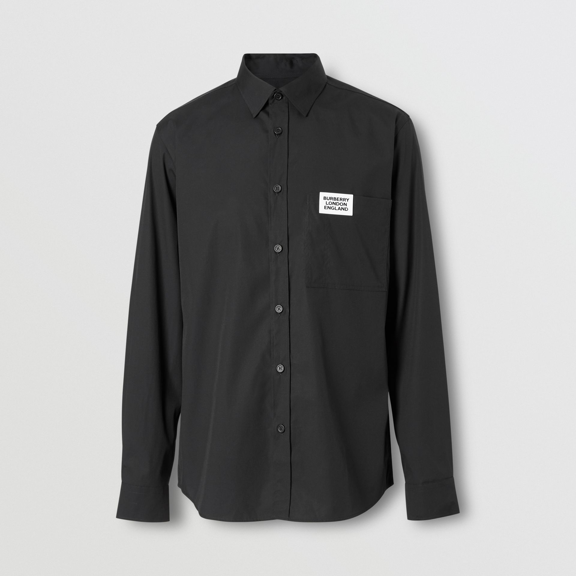 Logo Detail Stretch Cotton Poplin Shirt in Black - Men | Burberry - gallery image 3