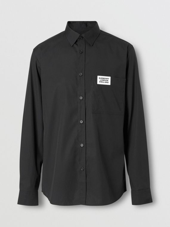 Logo Detail Stretch Cotton Poplin Shirt in Black