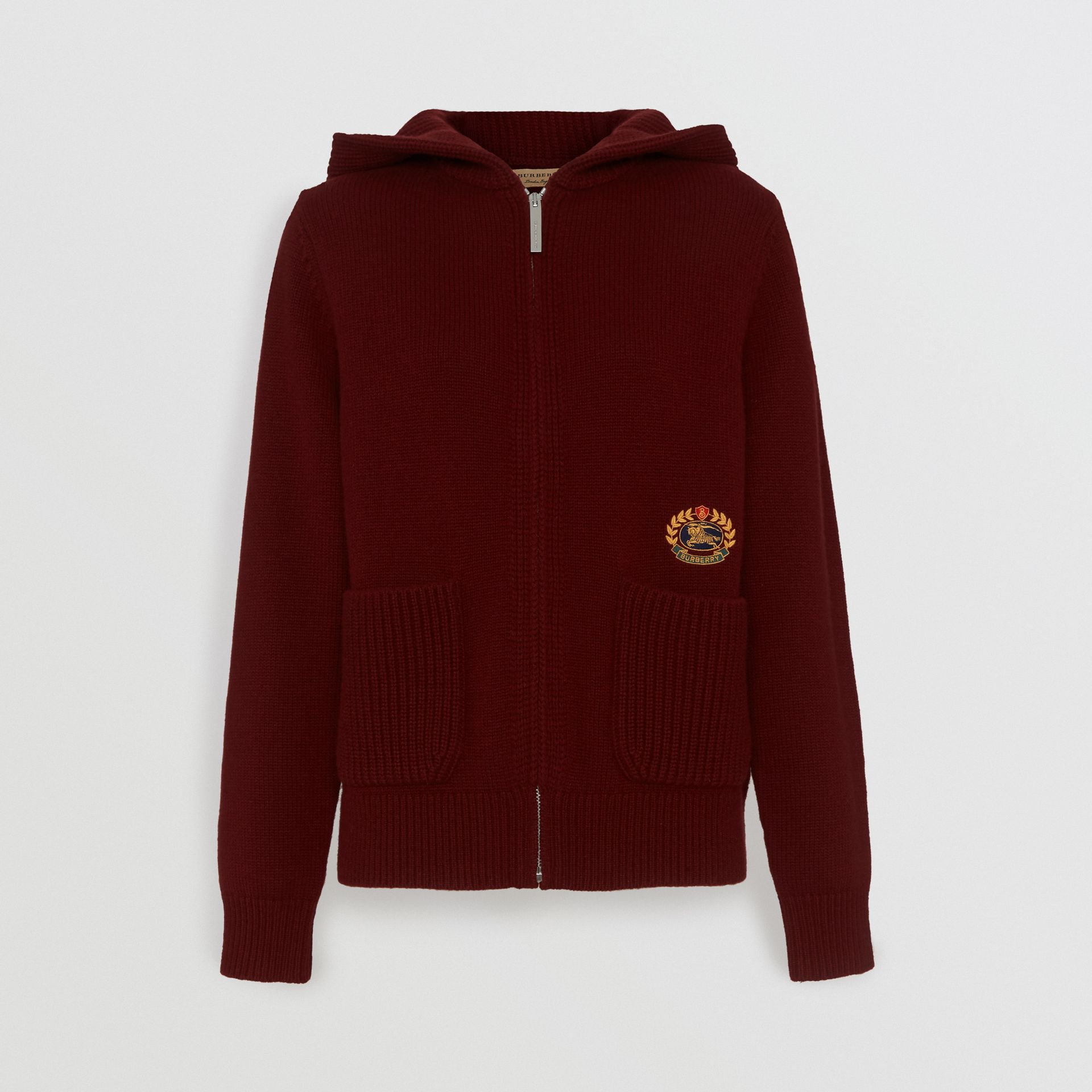 Embroidered Archive Logo Cashmere Hooded Top in Crimson - Women | Burberry - gallery image 3