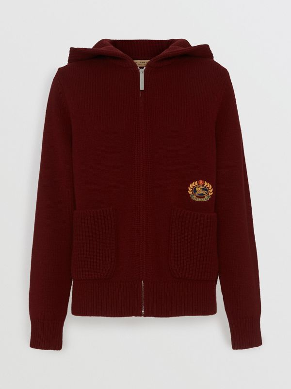 Embroidered Archive Logo Cashmere Hooded Top in Crimson - Women | Burberry - cell image 3