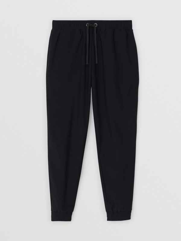 Logo Print Stretch Nylon Trackpants in Black - Men | Burberry - cell image 3