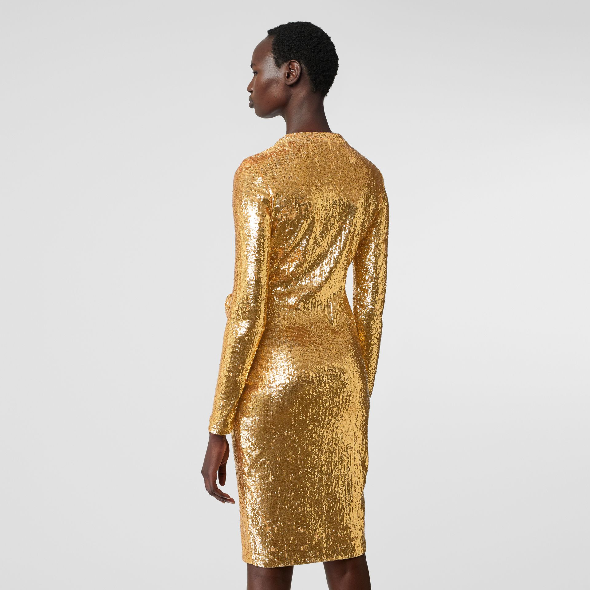 Hand-gathered Detail Sequinned Dress in Honey - Women | Burberry - gallery image 2