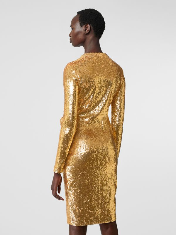 Hand-gathered Detail Sequinned Dress in Honey - Women | Burberry - cell image 2