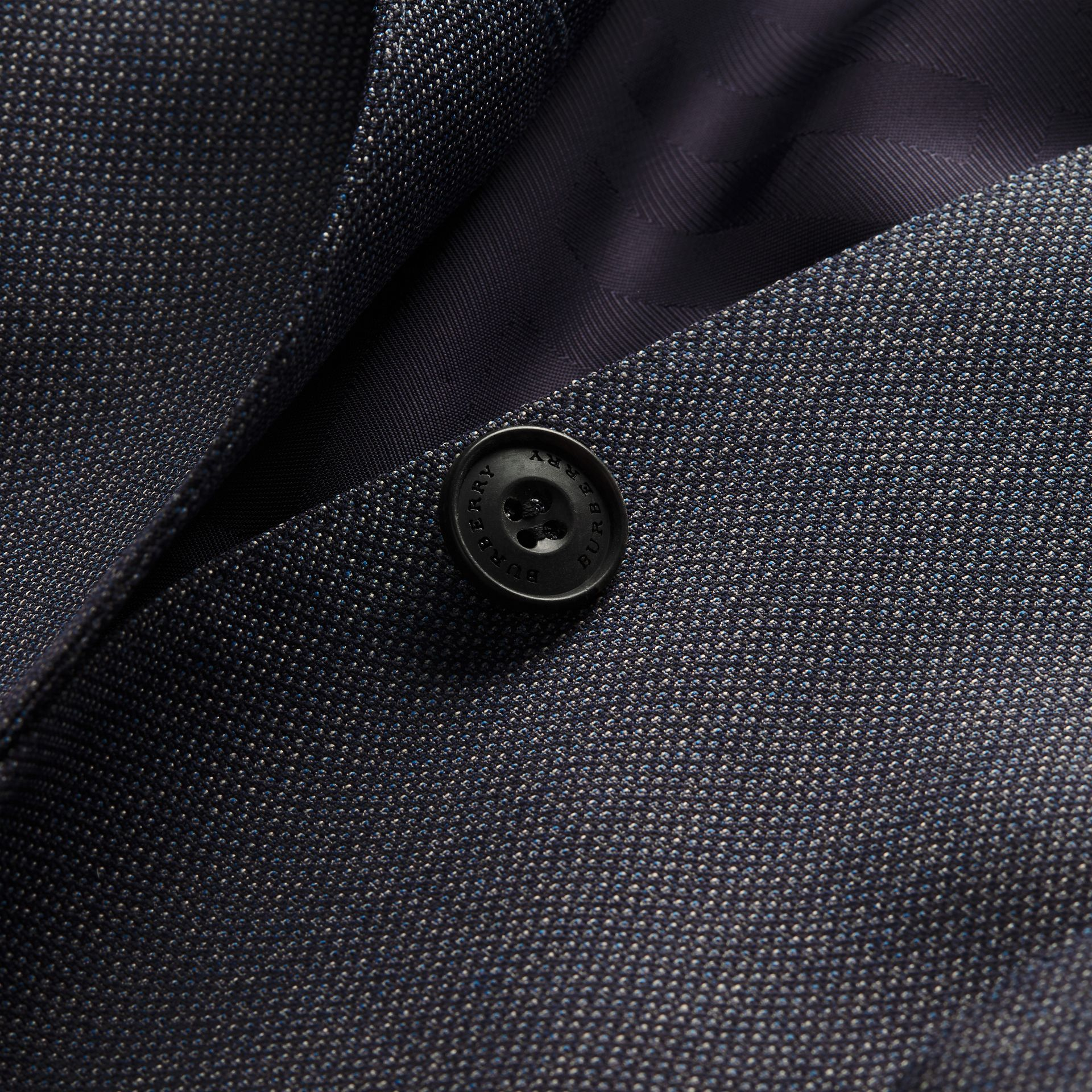 Bleu acier Costume de coupe étroite semi-entoilé en laine à motif œil-de-perdrix - photo de la galerie 2