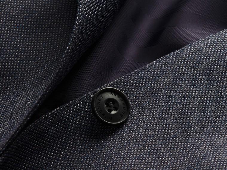 Bleu acier Costume de coupe étroite semi-entoilé en laine à motif œil-de-perdrix - cell image 1