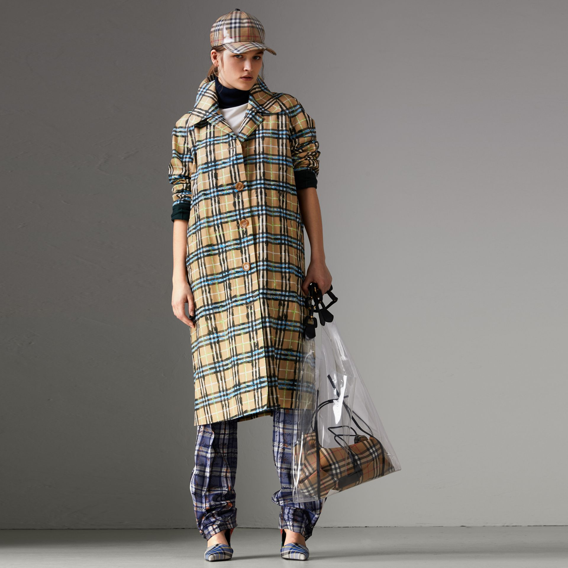 Scribble Check Cotton Gabardine Car Coat in Bright Blue - Women | Burberry Canada - gallery image 0
