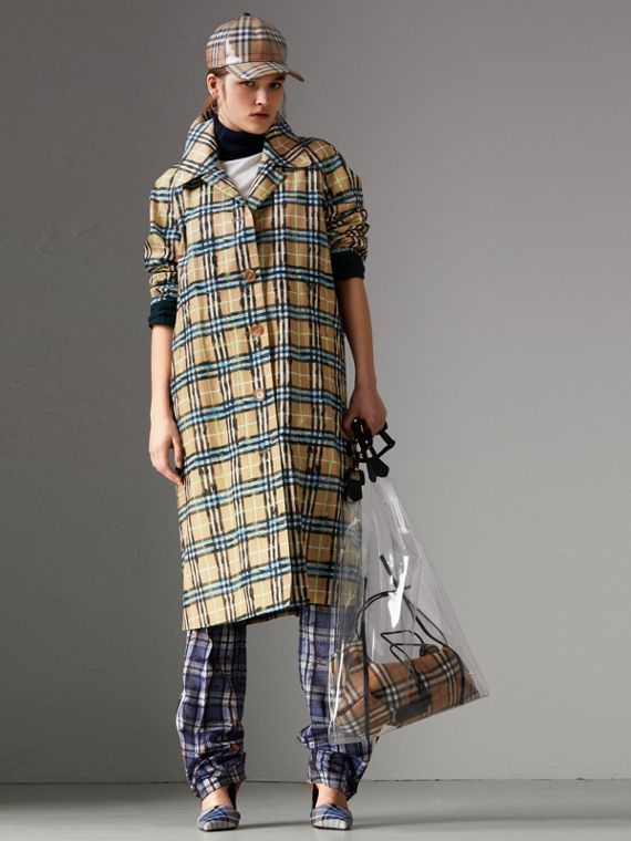 Scribble Check Cotton Gabardine Car Coat in Bright Blue