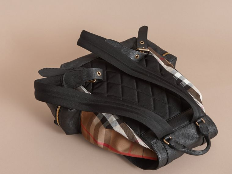 The Large Rucksack in Grainy Leather and House Check - cell image 4