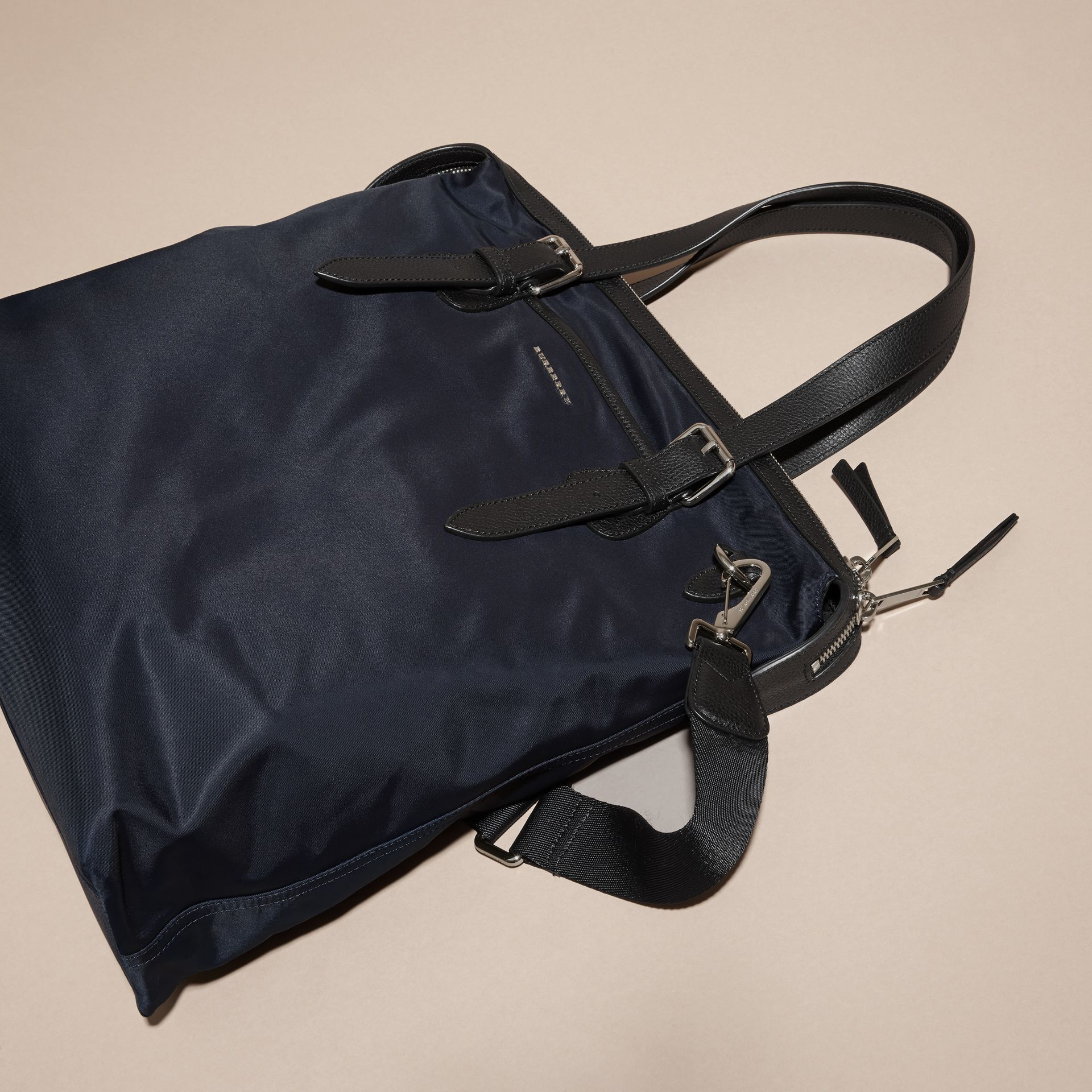 Dark navy Leather Trim Tote Bag Dark Navy - gallery image 7