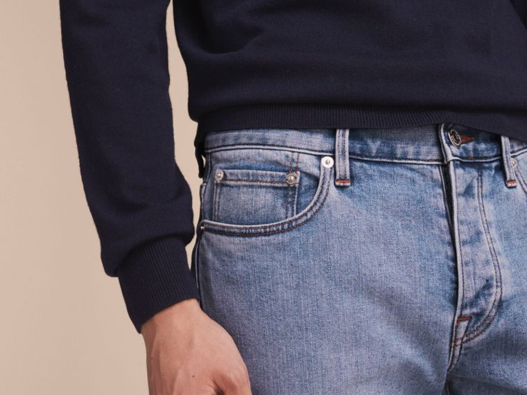 Relaxed Fit Stretch Jeans in Light Indigo - Men | Burberry - cell image 4