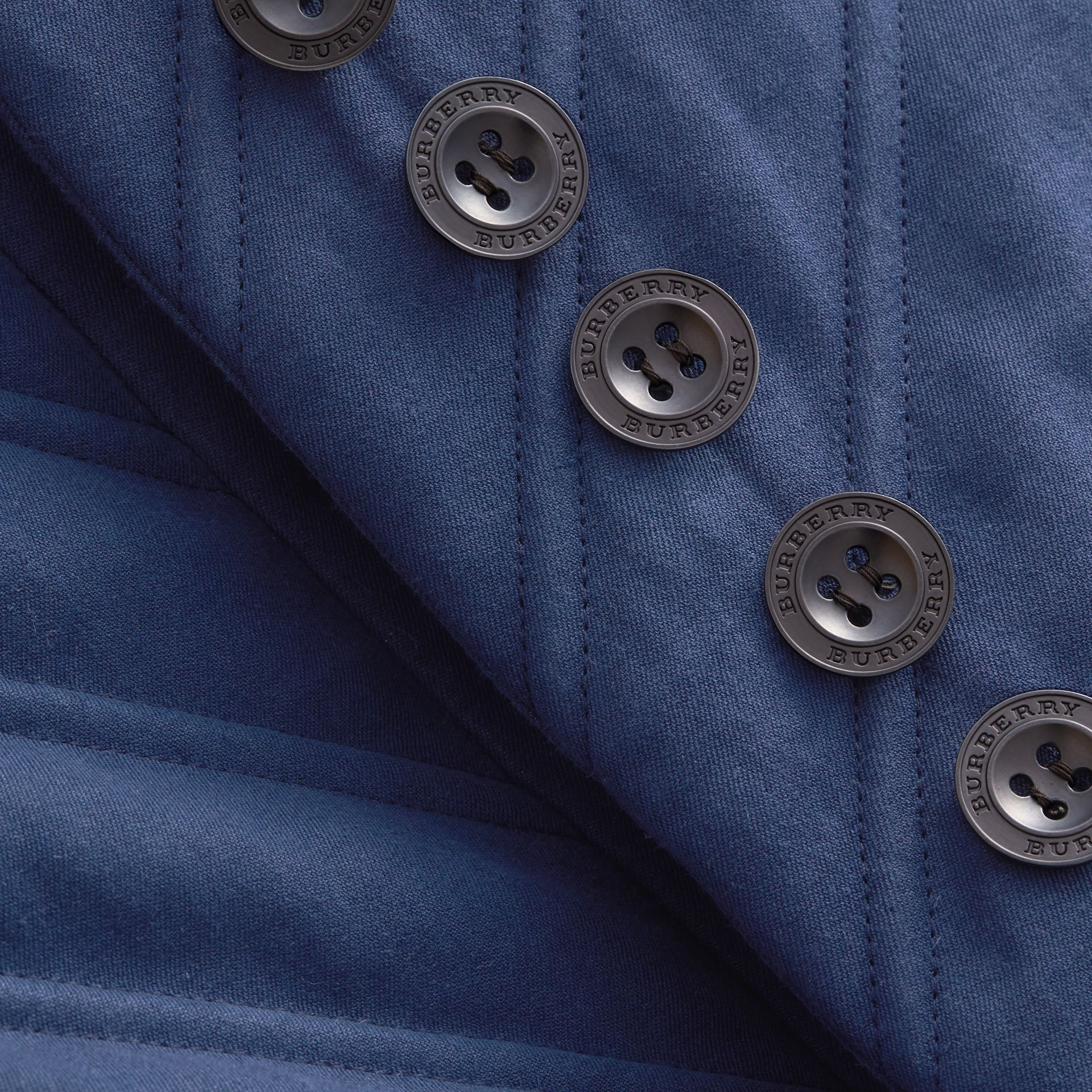 Quilted Ramie Cotton Military Jacket in Indigo - Women | Burberry - gallery image 2