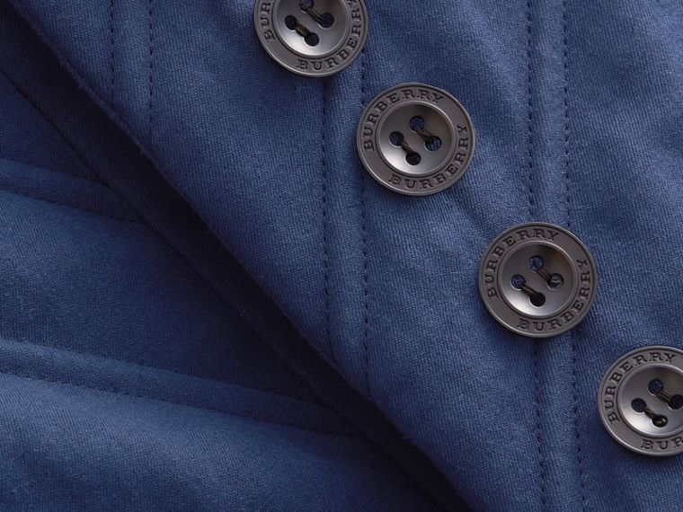Quilted Ramie Cotton Military Jacket in Indigo - Women | Burberry - cell image 1