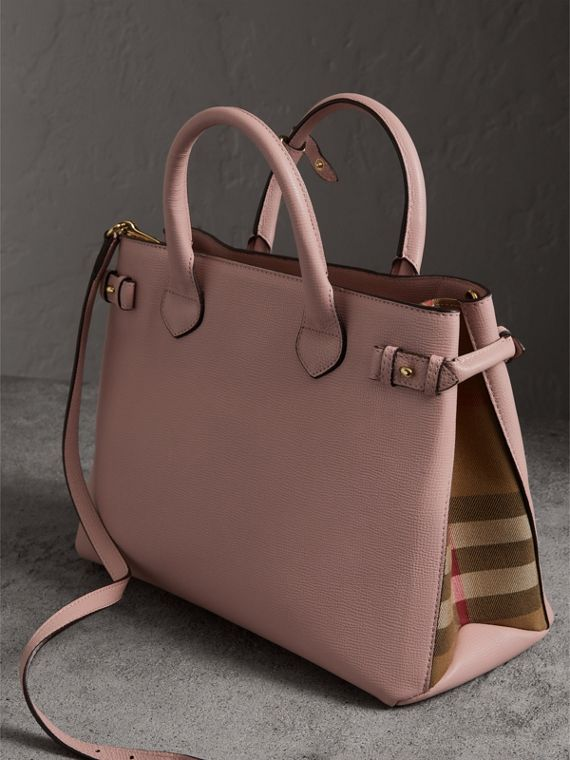 Sac The Banner medium en cuir et coton House check (Orchidée Pâle) - Femme | Burberry Canada - cell image 3