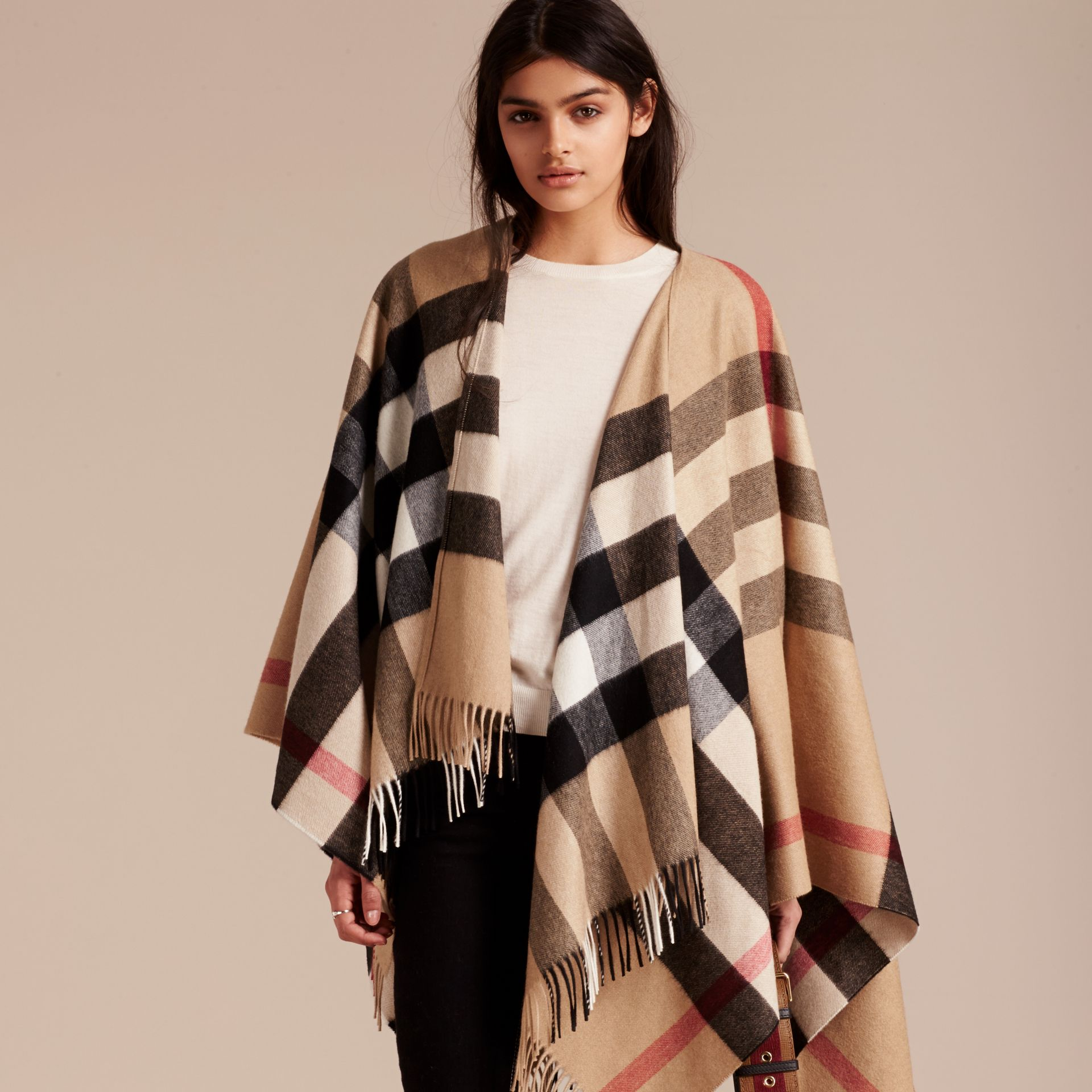 Check Cashmere and Wool Poncho in Camel - Women | Burberry Singapore - gallery image 8
