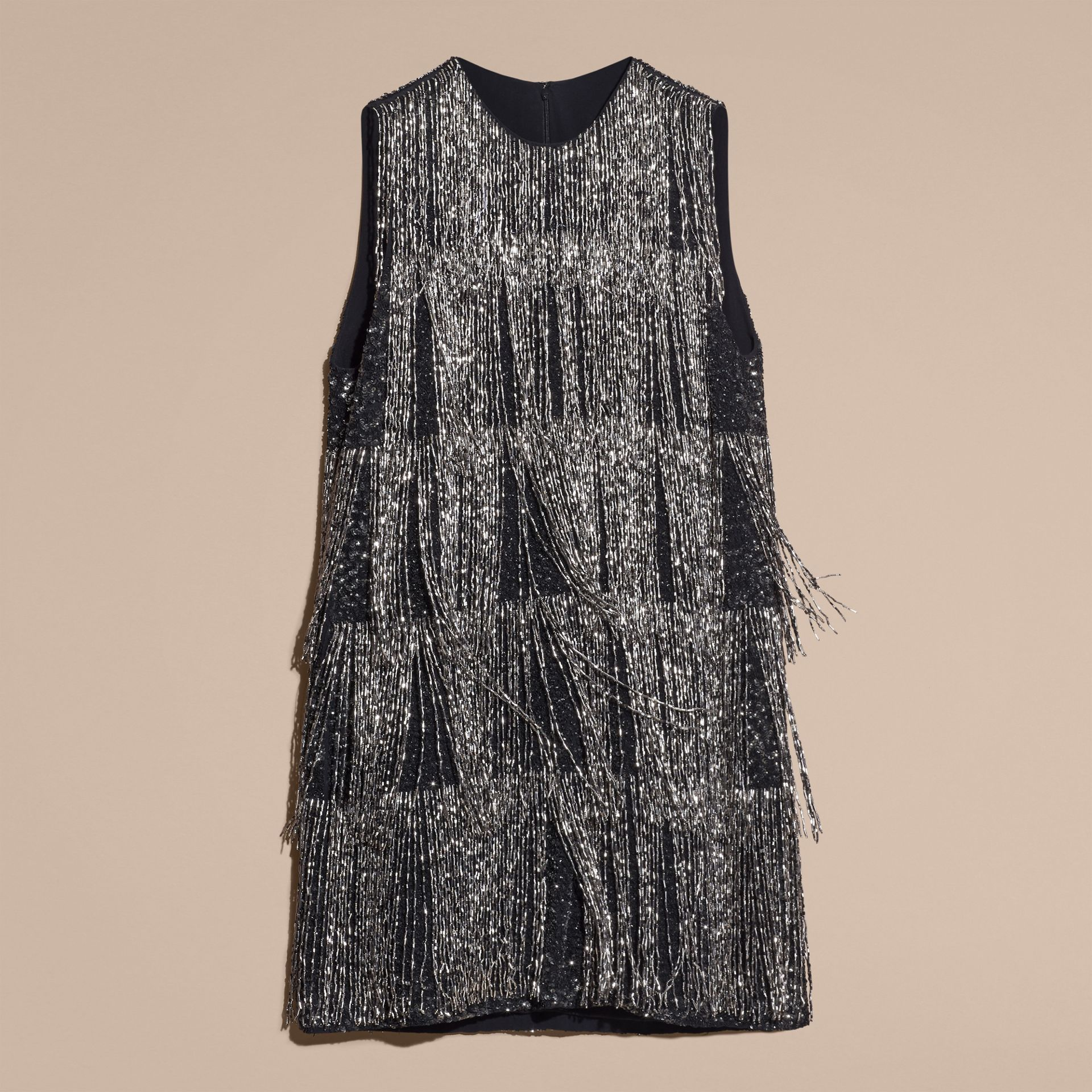 Silver Bead-fringed Silk Dress - gallery image 4