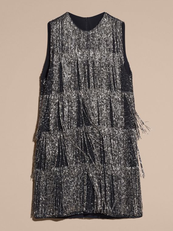Silver Bead-fringed Silk Dress - cell image 3