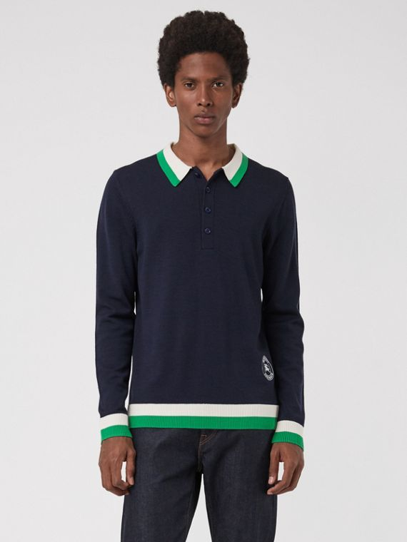 Stripe Detail Merino Wool Long-sleeve Polo Shirt in Navy