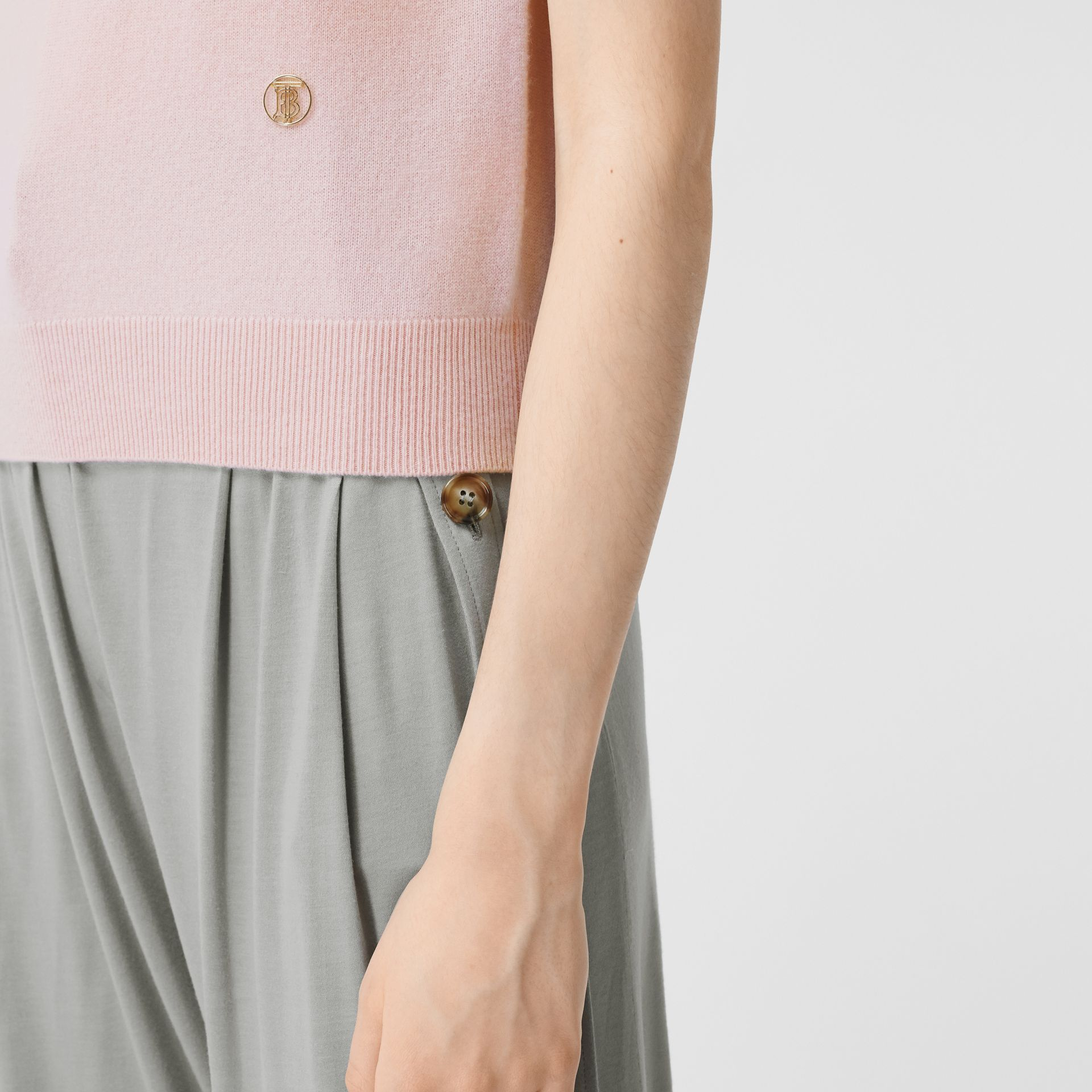 Short-sleeve Monogram Motif Cashmere Top in Copper Pink - Women | Burberry United Kingdom - gallery image 1