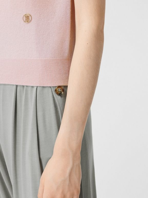 Short-sleeve Monogram Motif Cashmere Top in Copper Pink - Women | Burberry United Kingdom - cell image 1