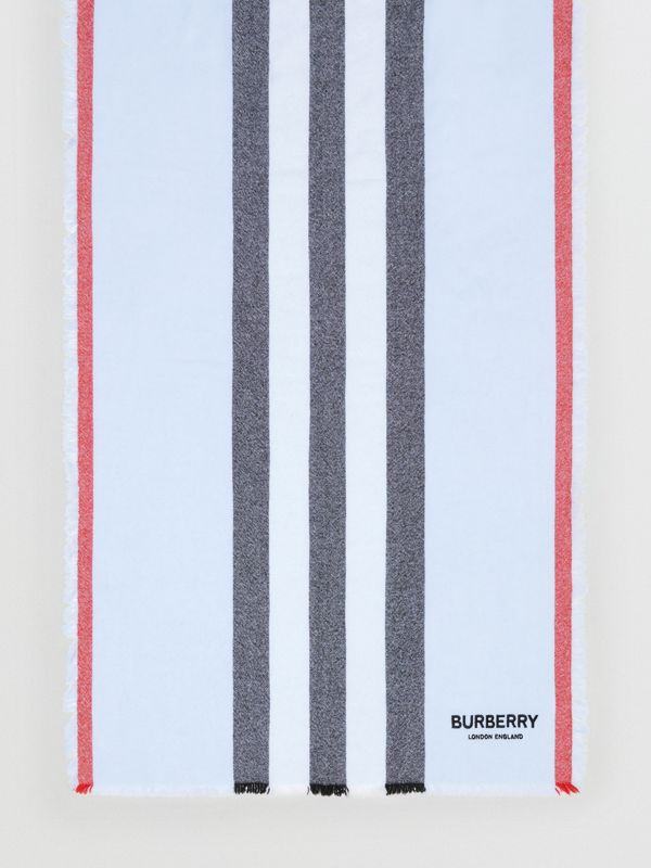 Icon Stripe Wool Cashmere Scarf in Pale Blue | Burberry - cell image 3