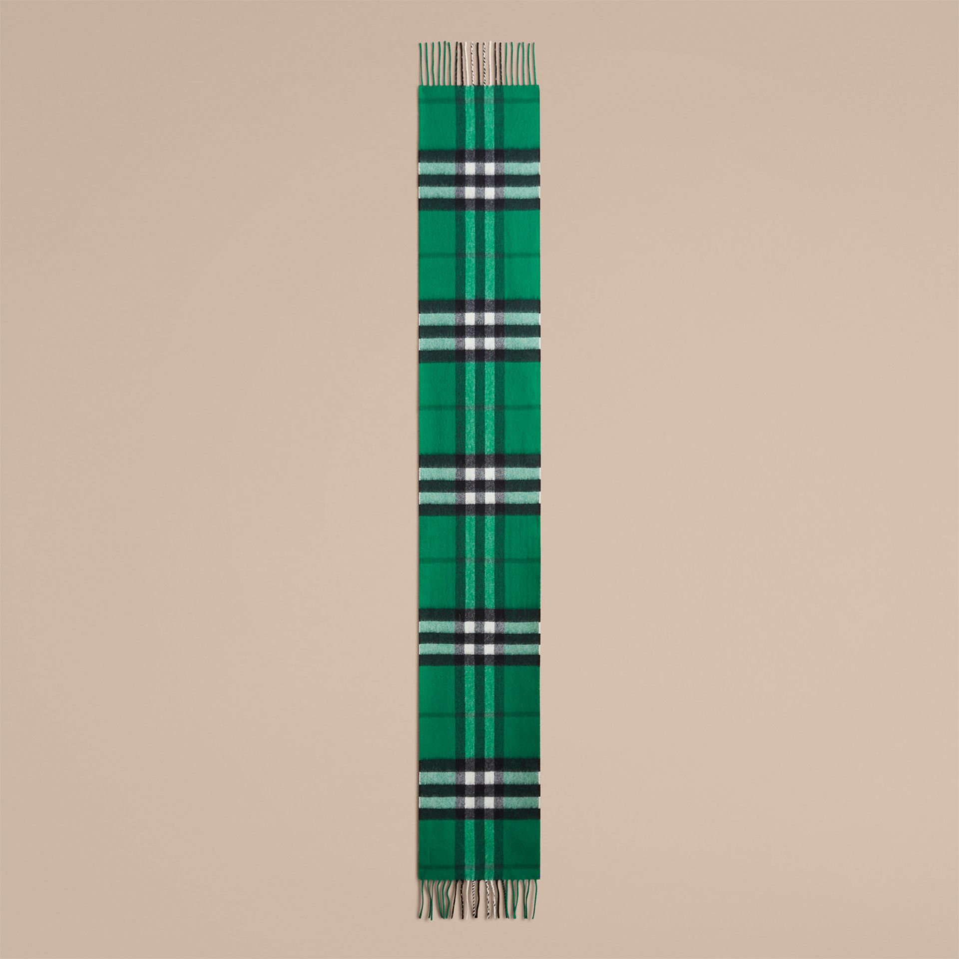 The Mini Classic Check Cashmere Scarf in Emerald | Burberry Australia - gallery image 1