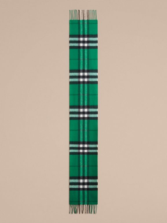 The Mini Classic Check Cashmere Scarf in Emerald   Burberry United States - cell image 1