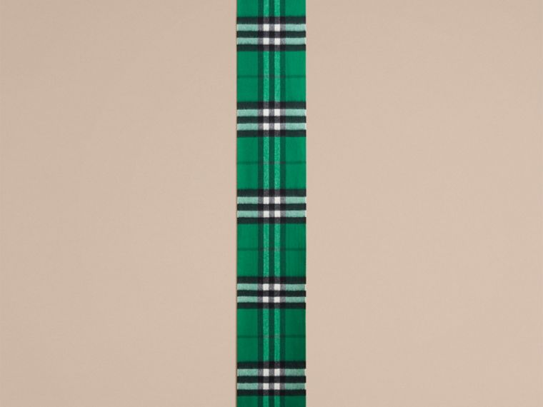 The Mini Classic Check Cashmere Scarf in Emerald | Burberry Australia - cell image 1