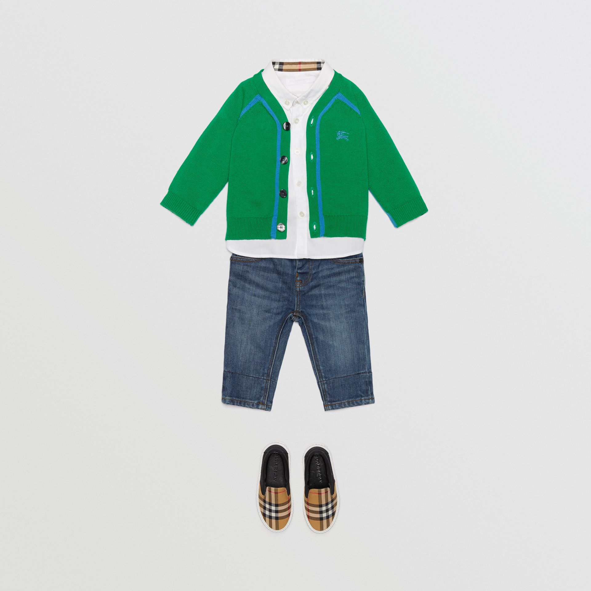 Two-tone Cotton Knit Cardigan in Bright Emerald - Children | Burberry United Kingdom - gallery image 2